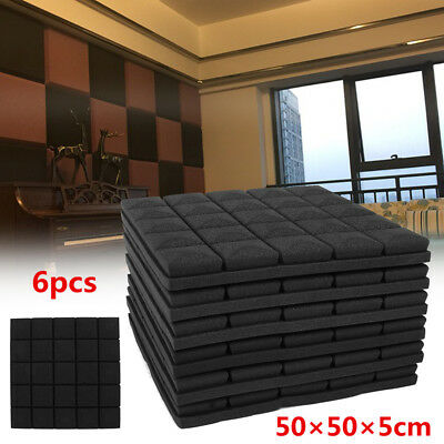6Pcs 50x50x5cm Soundproof Acoustic Foam Wedge Studio Sound Absorption Wall