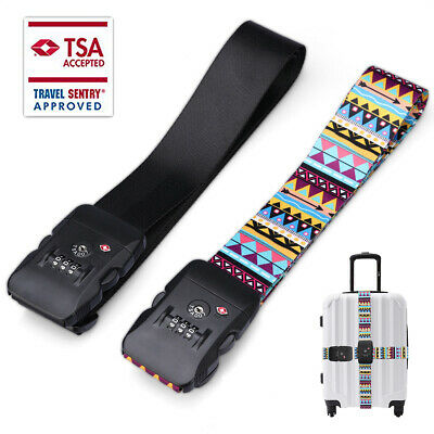 Fashion-Retro Pattern Suitcase Luggage Strap Packing Belt TSA Password Lock Clip