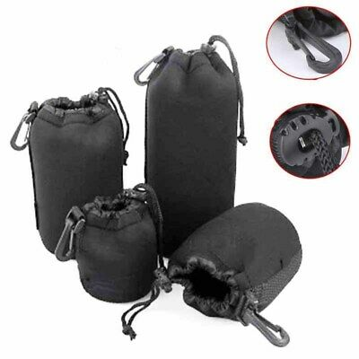 S/M/L/XL DSLR Camera Lens Covers Soft Pouch Case Protector Padded Bag Set New