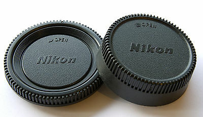 1 X REAR LENS CAP + 1 X CAMERA BODY CAP for NIKON Ai Ais A/F-D A/F-S UK stock