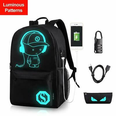 Anime Anti-Theft Backpack with USB Charger Port+3 Gifts Laptop Work Shoulder Bag