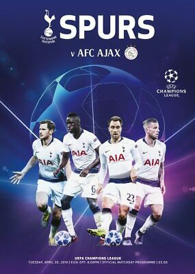 Tottenham Spurs v Ajax Programme Champions League Semi-Final