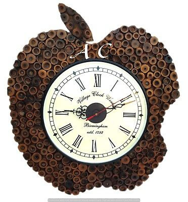 Vintage Wooden Classic Wall Clock Decorative Fabulous Creative Bamboo Work 16""