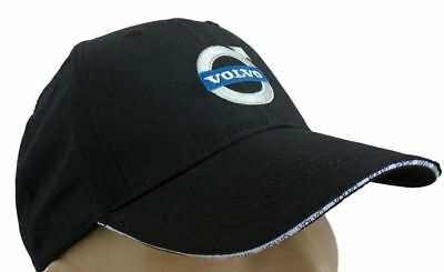 Volvo Classic Baseball Cap Black Hat Logo Embroidered In Front Adjustable