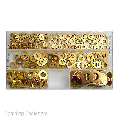 450 Assorted Box Solid Brass Metric Flat Washers M4 M5 M6 M8 M10