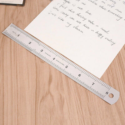 32E2 20cm 8 inch Stainless Steel Metal Straight Ruler Precision Double Sided*
