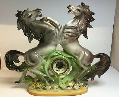 Large Quirky Vintage Italian Made Porcelain Rearing Horses Mantle Mantel Clock