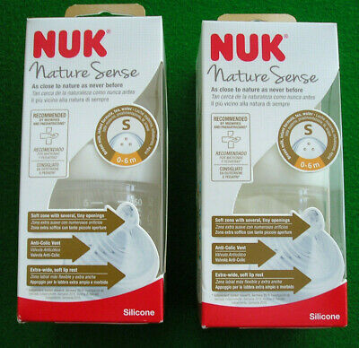 Two NUK Nature Sense 150ml Bottles White Size 1 Small Silicone Teat (0-6m)