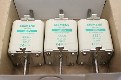 3x SIEMENS 3ND2 254 355A 690V NH2 NH Sicherungseinsatz 3ND2254 OVP