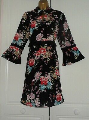 Marks & Spencer Limited Edition Beautiful Long Sleeved Floral Frill Dress 14R