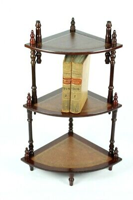 Vintage Mahogany 3 Tier Leather Top Bookcase Corner Whatnot [5116]