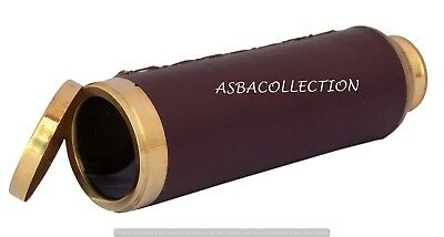 Brass Telescope Marine Nautical Spyglass Leather Antique Pirate Vintage Scope