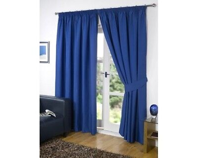 Dreamscene Luxury Fully Lined Pair Thermal Blackout Pencil Pleat Curtains with T
