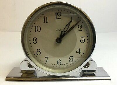 Antique Smiths Art Deco Enfield Chrome Mechanical Mantel Mantle Desk Clock, Runs