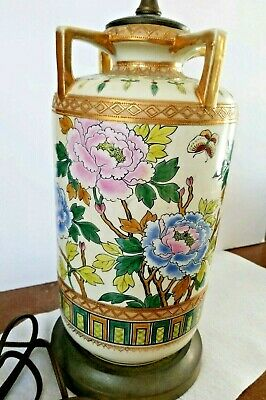 Chinese Famille Rose Vase Table Lamp Porcelain Gold Gilt Beautiful Works!!
