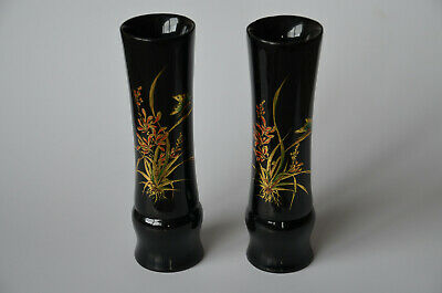 Two Vintage Candle Holders Lacquerware from Tan An, Vietnam hand-made