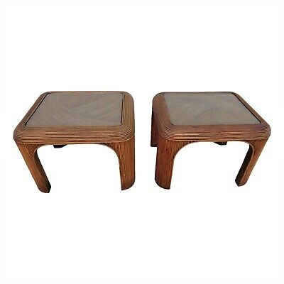 Vintage Pair Of Matching Pencil Reed Rattan Bamboo End Side Tables Crespi Style