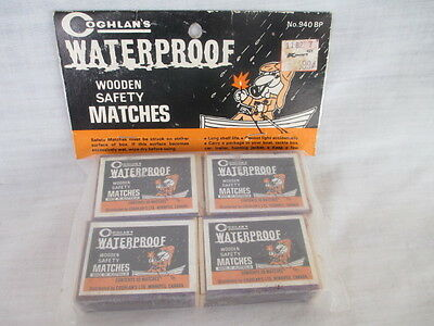 Vintage Coghlan's waterproof wooden matches 4 boxes, camping, hunting, display