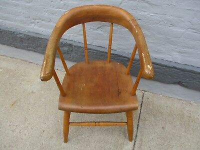 Antique Chair Solid Oak Side Arm  Desk Chair Victorian Vintage