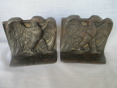 Antique 1925 Set (2) Snead 3D Cast Iron BALD EAGLE Bronze Figural BOOKENDS USA