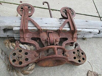 """ANTIQUE CAST IRON HAY TROLLEY UNLOADER mounted on 60"""" wood beam ORIGINAL"""