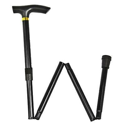 Heavy Duty Metal Foldable Non Slip Walking Stick Cane Height Adjustable Black