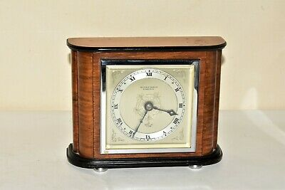 Elliot Art Deco Wooden Mantle Clock Working Perfectly Silvered Dial 8 day