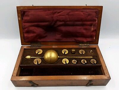 Antique 19th Century Hydrometer With Implements And Wooden Carrycase