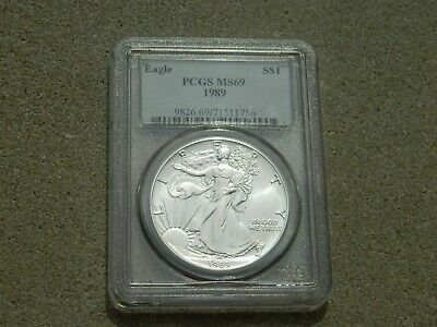 1989 American Eagle 1 Oz .999 Silver Dollar Pcgs Ms69