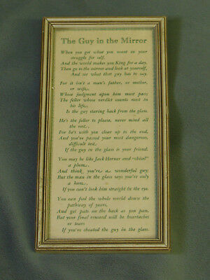 "vintage "" The Guy in the Mirror "" framed Wisdom for Self Improvement"