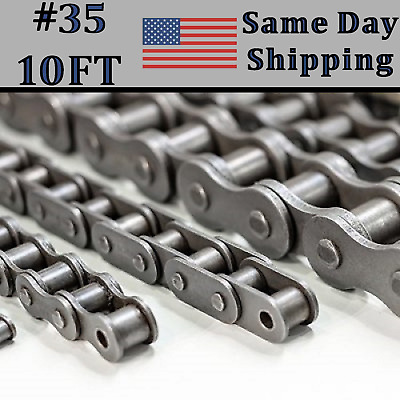 #35 Roller Chain 10 Feet with Free Connecting Link + Same Day Expedited Shipping