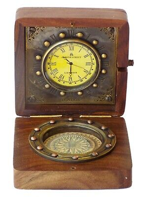 Antique Brass Nautical Desk Compass Pocket Gift With Maritime Wooden Desk Clock