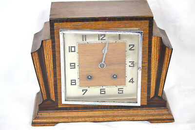 Antique British 1920's/1930's Wooden Mantle Clock, Art Deco
