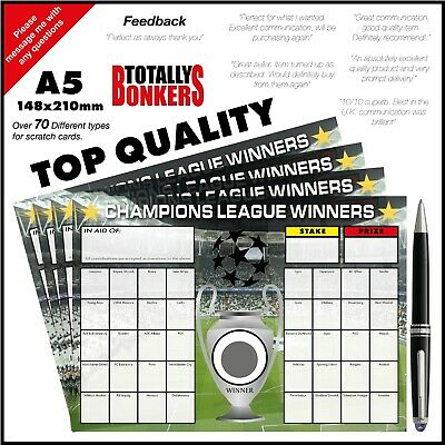 Champions League Football Fundraising Scratch Cards  40 Teams - Free Uk Postage