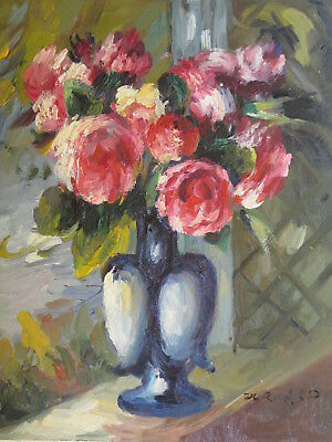 """Original Hand Painted Yeovil Flowerst 8""""x10"""" Oil Painting Floral Canvas Art"""