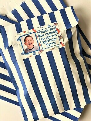 Personalised Photo Party Bags Candy Stripe Sweet Bags - Dinosaur