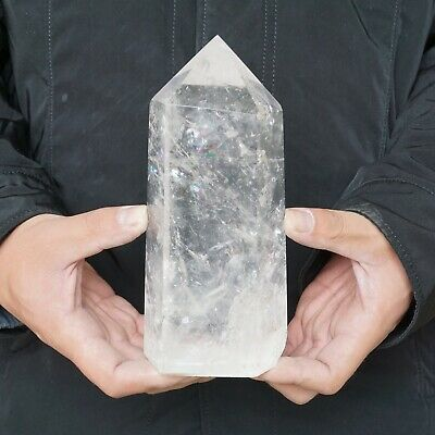 "3.4LB 7.1"" Natural Clear White Quartz Crystal Point Tower Polished Healing"