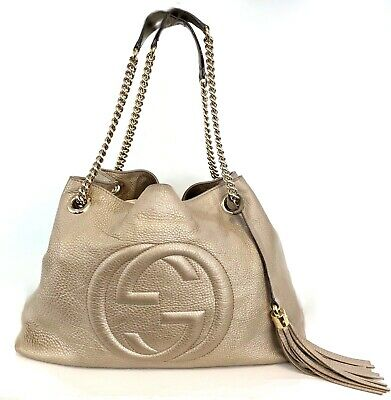 Authentic Gucci GG Logo Bronze Metallic Leather Chain Soho Tote Shoulder Bag