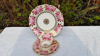 4 x Antique English porcelain hand painted Pink Roses & Gold pattern 4474