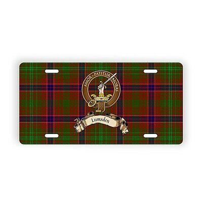 Lumsden Scottish Clan Tartan Novelty Auto Plate with Crest and Motto