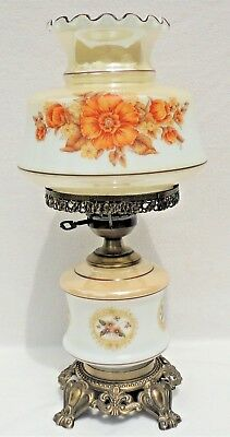 Large Vintage Gone With The Wind GWTW Floral Glass Hurricane Parlor Table Lamp
