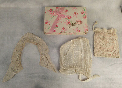 Antique 19th century Lace collar purse and bonnet Victorian Mother's Day box