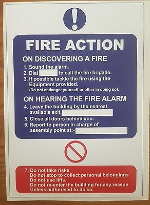 Fire Action Sign - A4 size self adhesive waterproof sticker