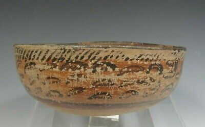 Pre-Columbian Central America Chinesco Pseudo Glyphs Decor Pottery Bowl 200 BC