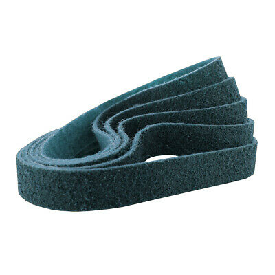 """1/2"""" x 18"""" Surface Conditioning Non Woven Sanding Belts Kit Blue, Fine - 5 PACK"""