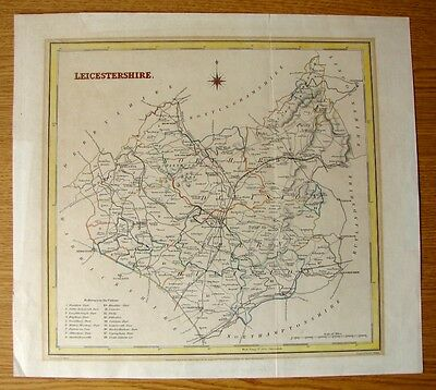 Leicestershire  Very Collectable Antique 1835 Creighton - Walker County Map