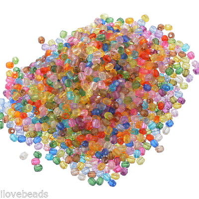"""500PCs Mixed Acrylic Faceted Round Spacer Beads 6mm(2/8"""") Dia."""