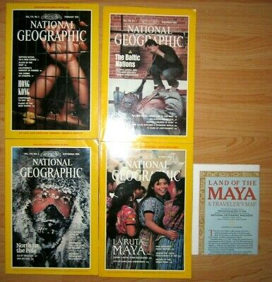 LOT 4 Vtg Collectible National Geographic Magazines 1986 1989 1990 1991 MAYA MAP