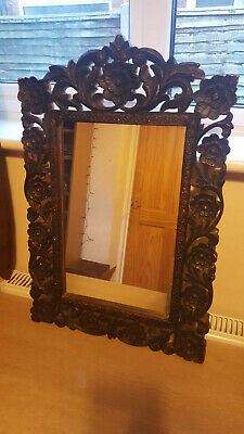 Hand Carved Wooden Mirror, Floral Design