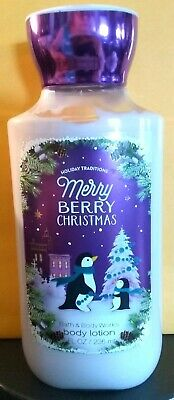 1-Bath and Body Works * MERRY BERRY CHRISTMAS Body Lotion * 8 oz. * FREE SHIP.